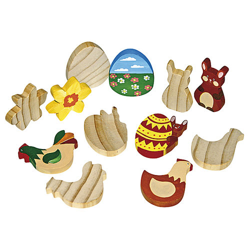 Holzfiguren Ostern 12er Set
